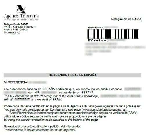 solicitud del certificado de residencia fiscal personal