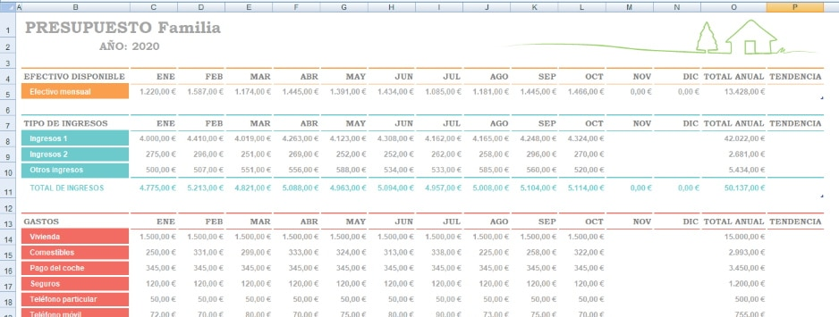 economia familiar excel